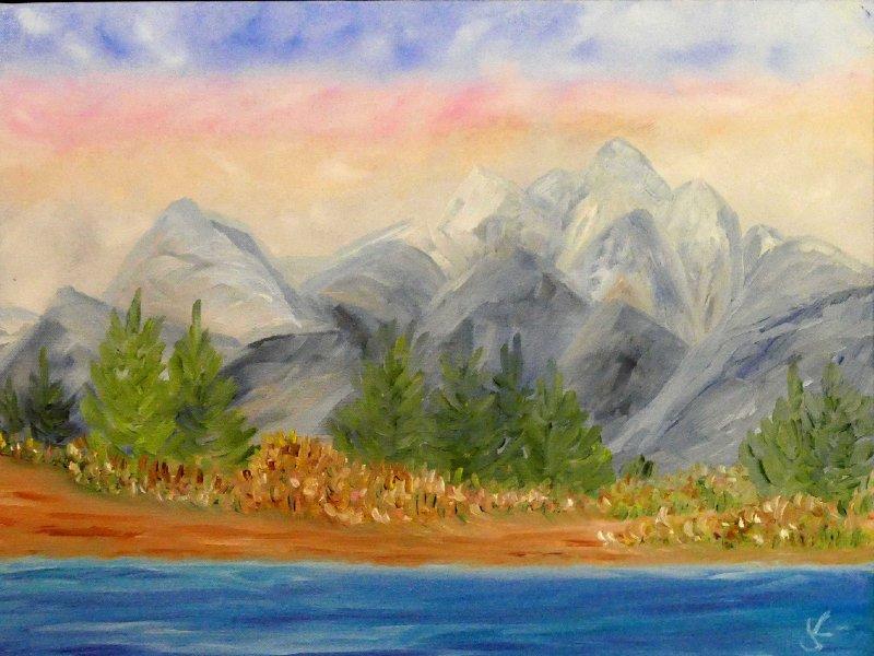 """""""Rafting the Snake-Grand Tetons"""" Oil, 16x20"""