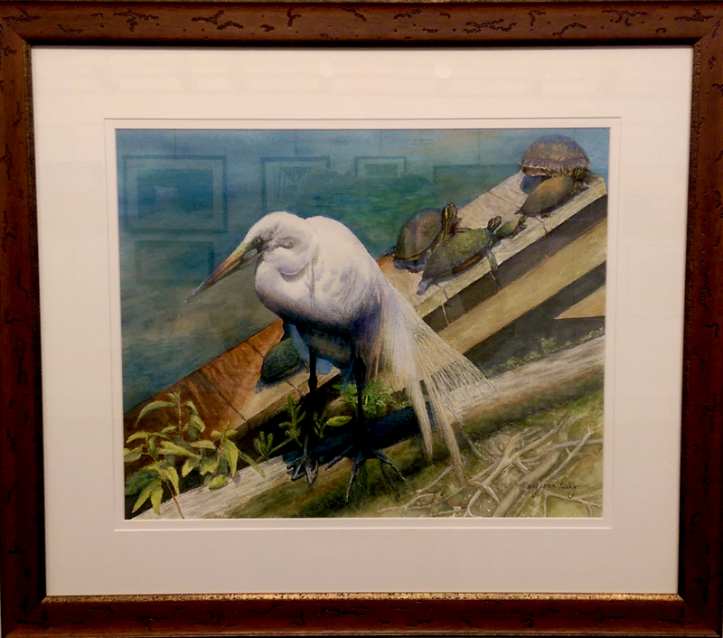 """""""American Egret with Turtles"""", Watercolor by Mary Ann Kelly"""