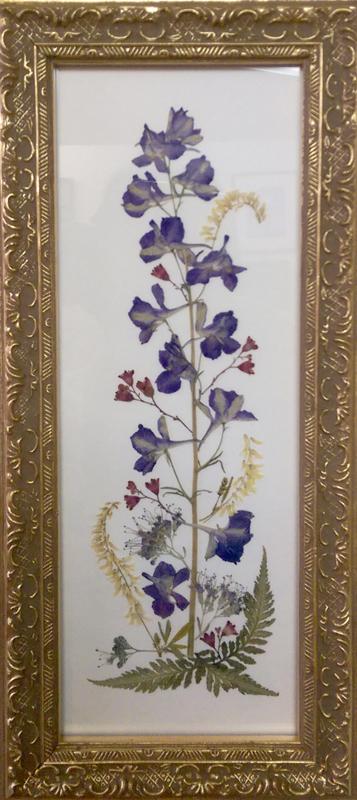 'Larkspur Arrangement' Pressed Flowers by Julie Miller