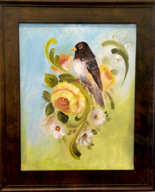 'Bird of Yellow Rose' Acrylic by Donna Brown
