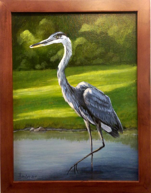 'Heron at the Lake' Acrylic by Robin Robertson