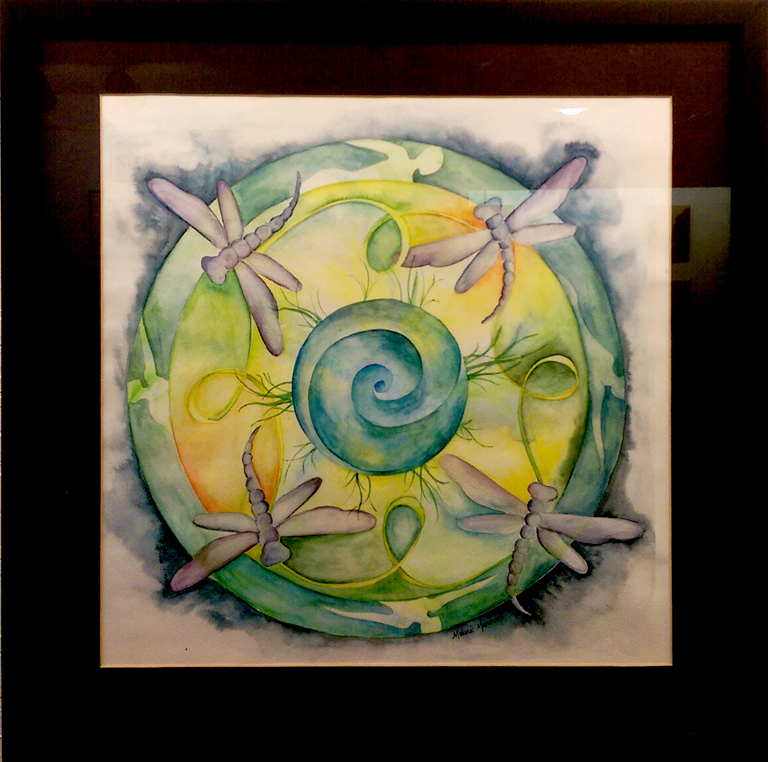 'Dragonfly Mandala' Watercolor by Melanie Cater